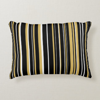 Customizable Black, Misted Yellow, & White Stripe Accent Pillow