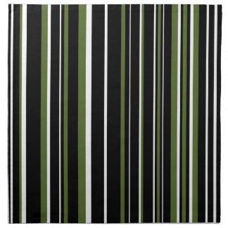 Customizable Black, Olive Green, & White Stripe Cloth Napkin
