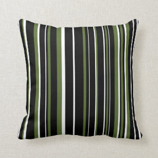 Customizable Black, Olive Green, & White Stripe Pillow