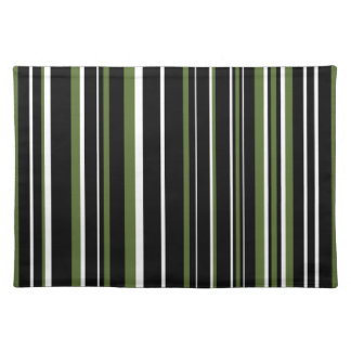 Customizable Black, Olive Green, & White Stripe Placemat