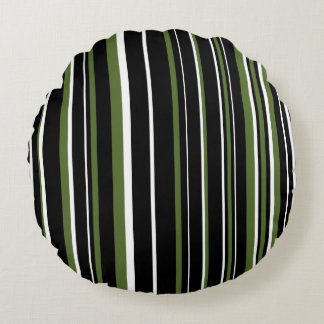 Customizable Black, Olive Green, & White Stripe Round Pillow
