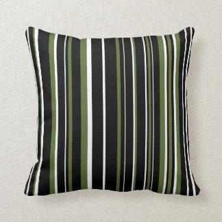 Customizable Black, Olive Green, & White Stripe Throw Pillow