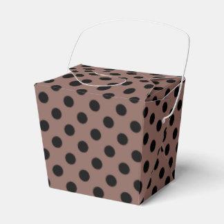 Customizable Black on Cognac Polka Dot Favor Box