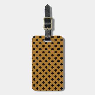 Customizable Black on Matte Gold Polka Dot Luggage Tag