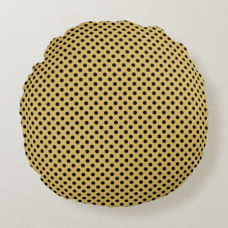 Customizable Black on Misted Yellow Polka Dot Round Pillow