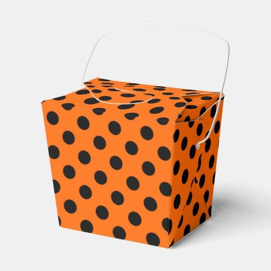 Customizable Black on Orange Polka Dot Favor Box