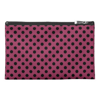 Customizable Black on Sangria Polka Dots Travel Accessory Bag