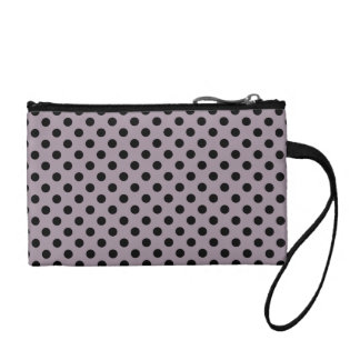 Customizable Black on Sea Fog Polka Dots Change Purse