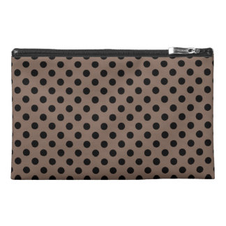 Customizable Black on Taupe Polka Dots Travel Accessory Bags