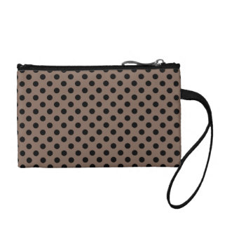 Customizable Black on Taupe Polka Dots Coin Purses