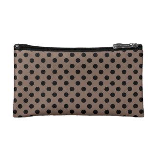 Customizable Black on Taupe Polka Dots Cosmetic Bag