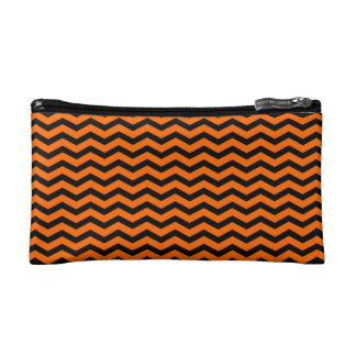 Customizable Black/Orange Chevron Cosmetic Bag
