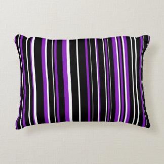 Customizable Black, Purple, & White Stripe Accent Pillow