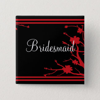 Customizable black red floral bridesmaid button