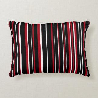 Customizable Black, Red, & White Stripe Decorative Pillow