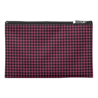 Customizable Black/Sangria Houndstooth Travel Accessory Bag