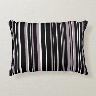 Customizable Black, Sea Fog Purple, & White Stripe Accent Pillow