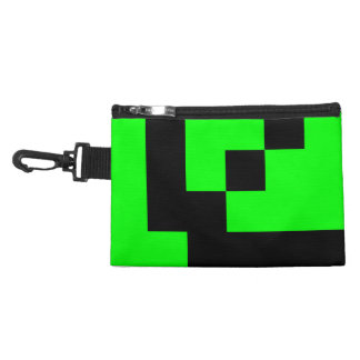Customizable Black Squares on Lime Green Accessory Bag