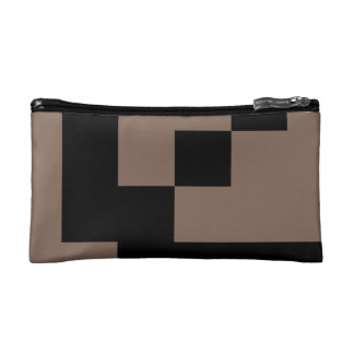 Customizable Black Squares on Taupe Cosmetic Bags