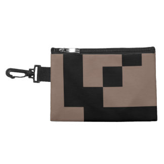 Customizable Black Squares on Taupe Accessories Bag