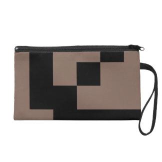 Customizable Black Squares on Taupe Brown Wristlet Purse