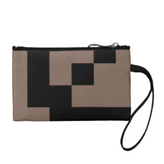 Customizable Black Squares on Taupe Change Purse