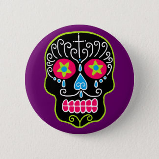Customizable Black Sugar Skull Button