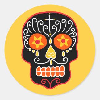 Customizable Black Sugar Skull Classic Round Sticker