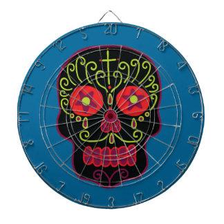 Customizable Black Sugar Skull Dart Board
