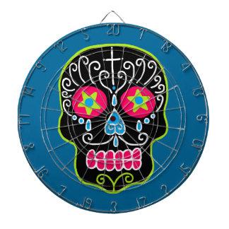 Customizable Black Sugar Skull Dartboard With Darts