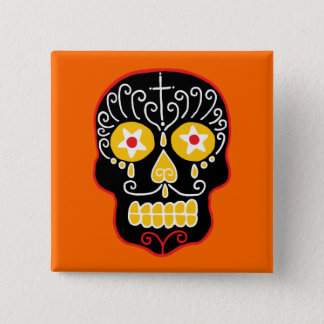 Customizable Black Sugar Skull Pinback Button