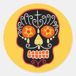 Customizable Black Sugar Skull Round Stickers