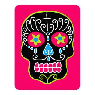Customizable Black Sugar Skulls 4.25x5.5 Paper Invitation Card