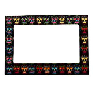 Customizable Black Sugar Skulls Magnetic Photo Frame