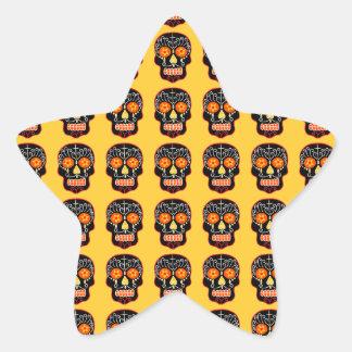 Customizable Black Sugar Skulls Star Sticker