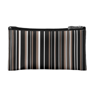 Customizable Black, Taupe, and White Stripe Makeup Bags