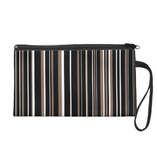 Customizable Black, Taupe Brown, and White Stripe Wristlet Clutches