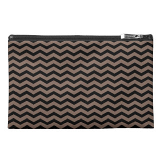 Customizable Black/Taupe Chevron Travel Accessory Bags