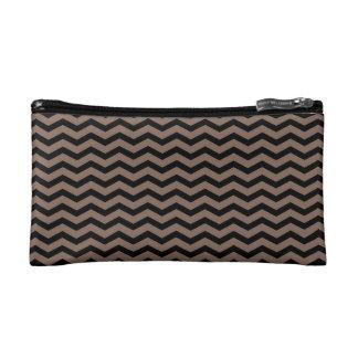 Customizable Black/Taupe Chevron Makeup Bag