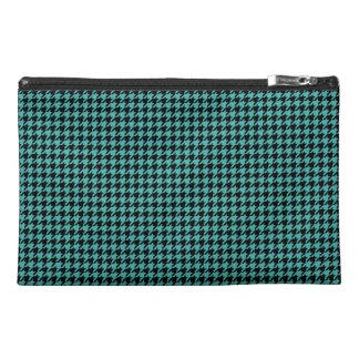 Customizable Black/Verdigris Green Houndstooth Travel Accessory Bag