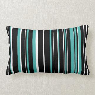Customizable Black, Verdigris, & White Stripe Lumbar Pillow