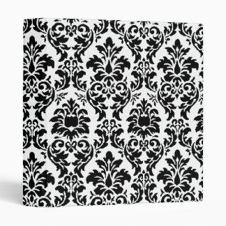 Customizable Black & White Damask Vinyl Binder