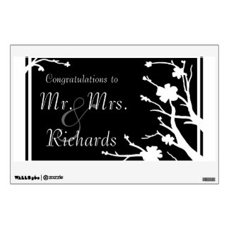 Customizable black white floral wedding wall decal