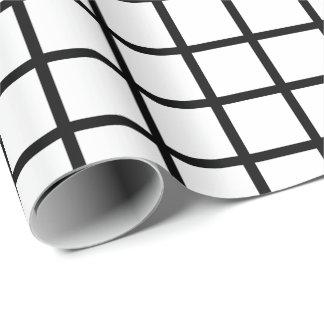 Customizable Black & White Grid Pattern Gift Wrap