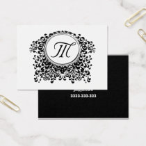 Customizable Black & White Monogram Business Cards