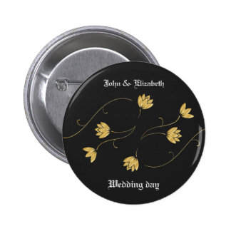 Customizable Black with Royal Golden Flowers 2 Inch Round Button