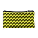 Customizable Black/Yellow Chevron Makeup Bag