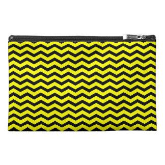 Customizable Black/Yellow Chevron Travel Accessory Bag