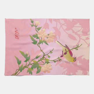 Customizable Blossoms and bird Towel
