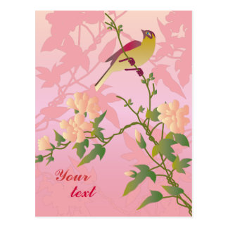 Customizable: Blossoms and bird Post Card